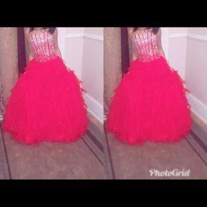 Red fluffy prom dress
